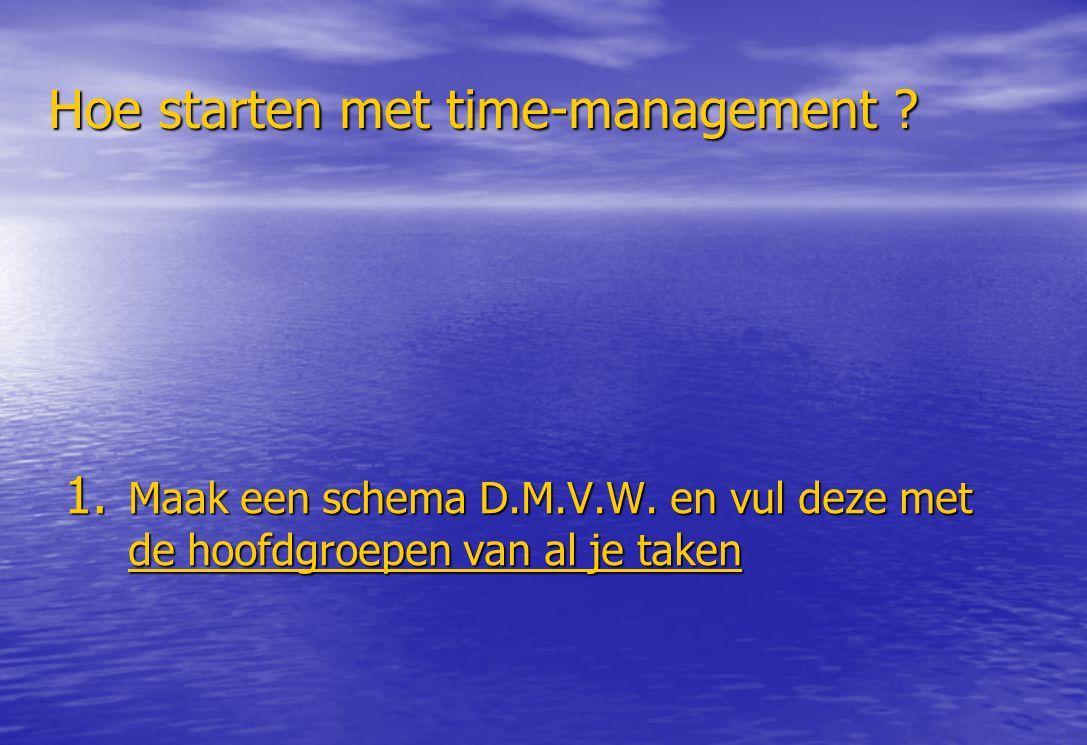 Hoe starten met time-management ? 1. Maak een schema D.M.V.W. en vul deze met de hoofdgroepen van al je taken