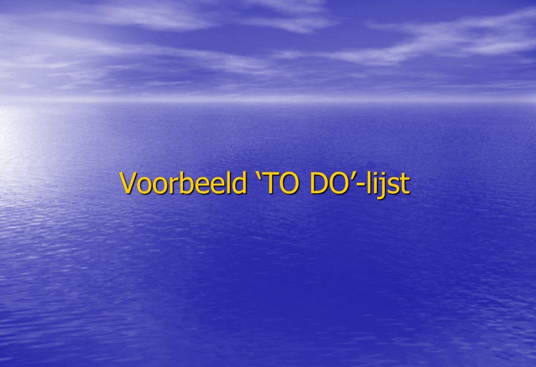 Voorbeeld 'TO DO'-lijst