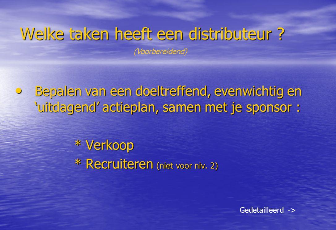 Welke taken heeft een distributeur ? Bepalen van een doeltreffend, evenwichtig en 'uitdagend' actieplan, samen met je sponsor : Bepalen van een doeltr