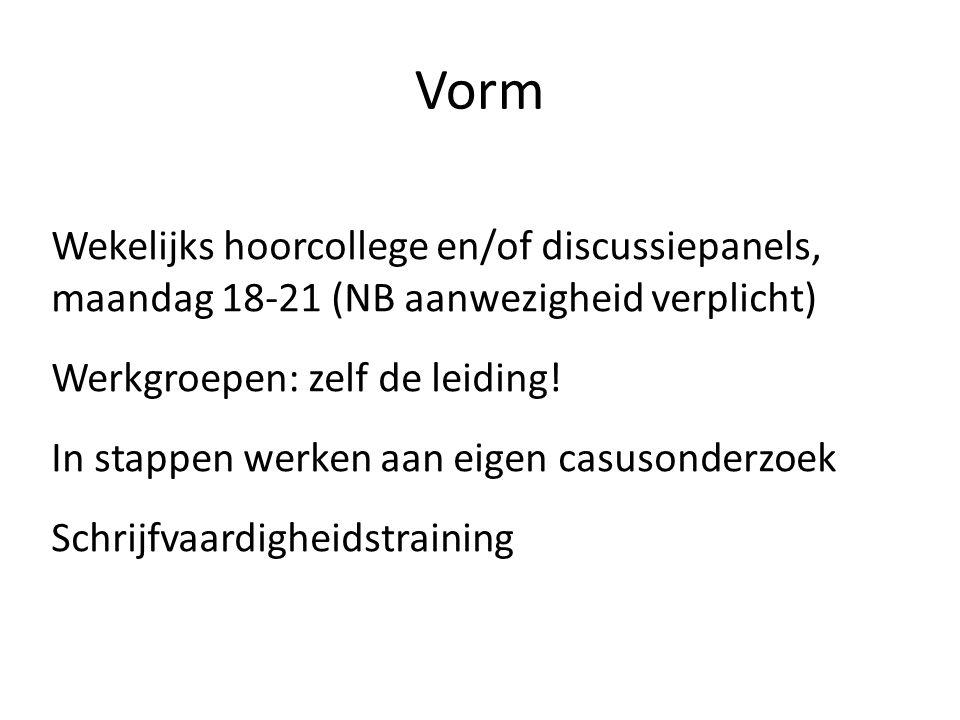 Vorm Wekelijks hoorcollege en/of discussiepanels, maandag 18-21 (NB aanwezigheid verplicht) Werkgroepen: zelf de leiding.