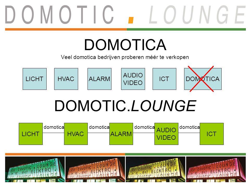 DOMOTICA Veel domotica bedrijven proberen méér te verkopen LICHTHVACALARM AUDIO VIDEO ICTDOMOTICA DOMOTIC.LOUNGE LICHTHVACALARM AUDIO VIDEO ICT domotica