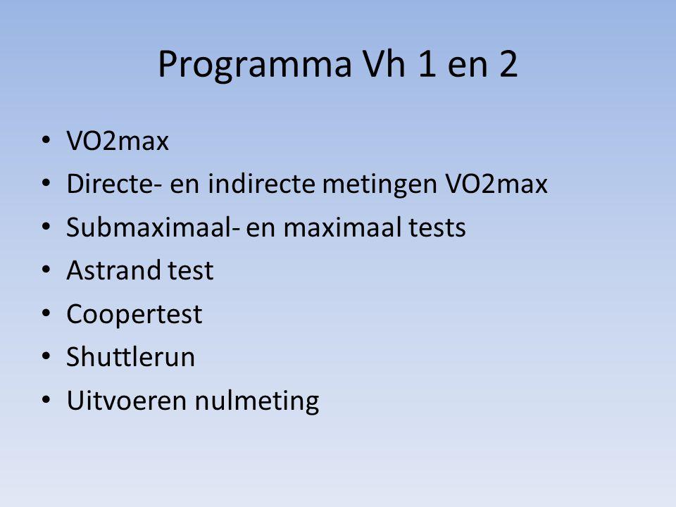 Programma Vh 1 en 2 VO2max Directe- en indirecte metingen VO2max Submaximaal- en maximaal tests Astrand test Coopertest Shuttlerun Uitvoeren nulmeting