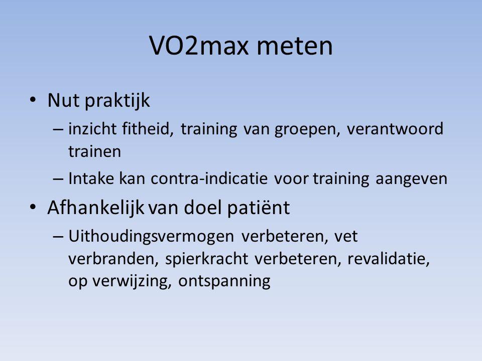 VO2max meten Nut praktijk – inzicht fitheid, training van groepen, verantwoord trainen – Intake kan contra-indicatie voor training aangeven Afhankelij