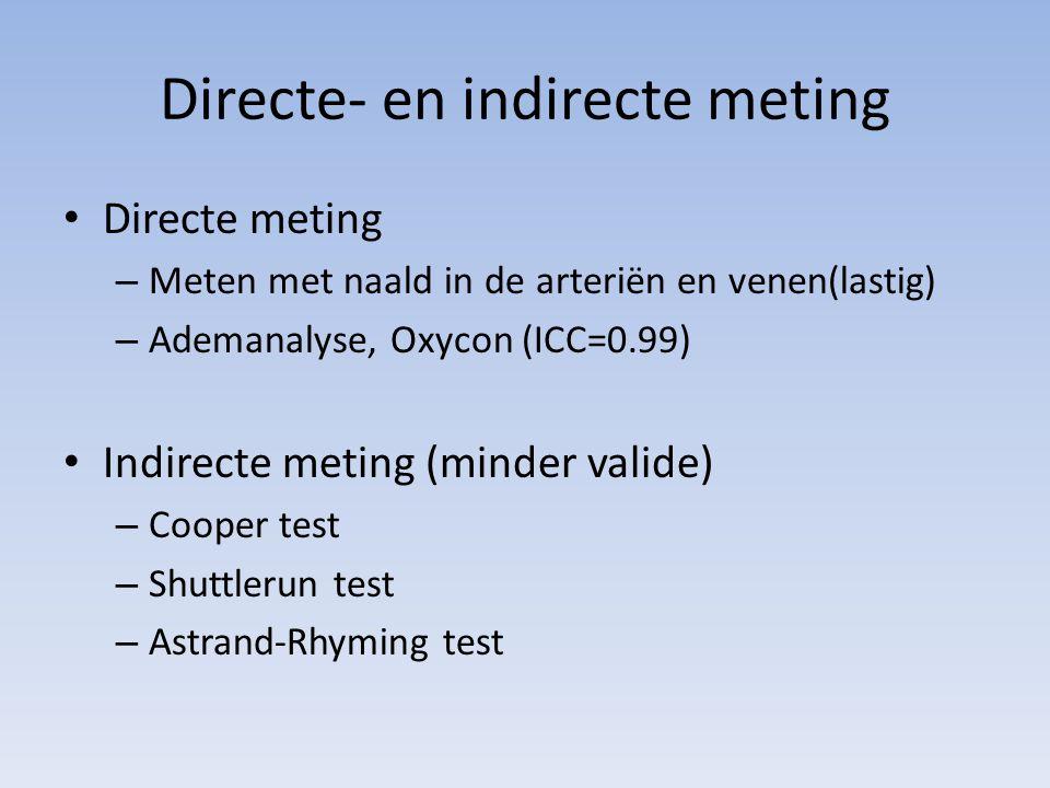 Directe- en indirecte meting Directe meting – Meten met naald in de arteriën en venen(lastig) – Ademanalyse, Oxycon (ICC=0.99) Indirecte meting (minde