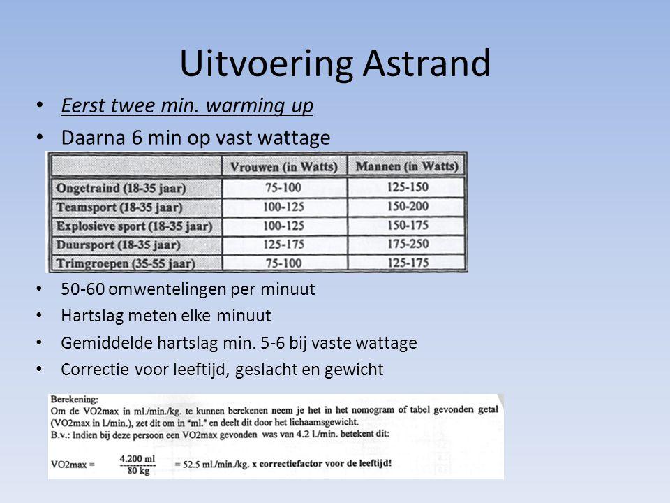 Uitvoering Astrand Eerst twee min. warming up Daarna 6 min op vast wattage 50-60 omwentelingen per minuut Hartslag meten elke minuut Gemiddelde hartsl