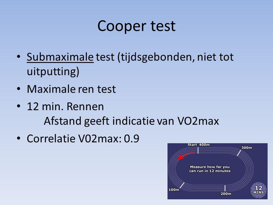 Cooper test Submaximale test (tijdsgebonden, niet tot uitputting) Maximale ren test 12 min. Rennen Afstand geeft indicatie van VO2max Correlatie V02ma