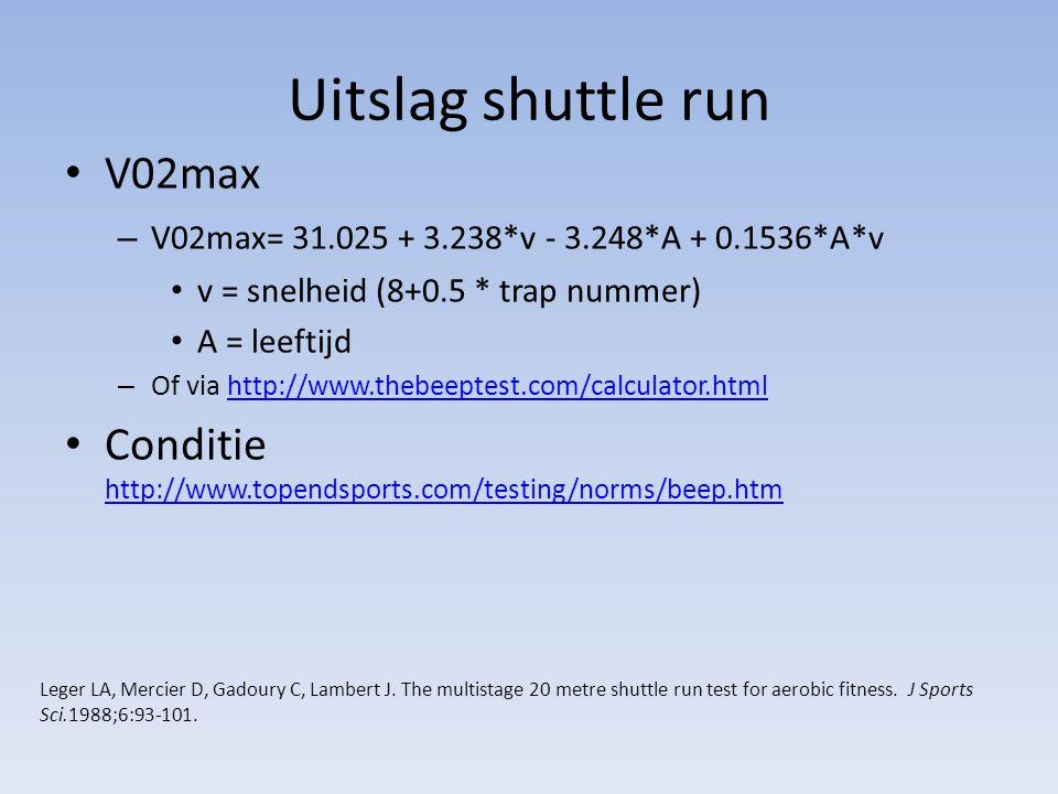 Uitslag shuttle run V02max – V02max= 31.025 + 3.238*v - 3.248*A + 0.1536*A*v v = snelheid (8+0.5 * trap nummer) A = leeftijd – Of via http://www.thebe