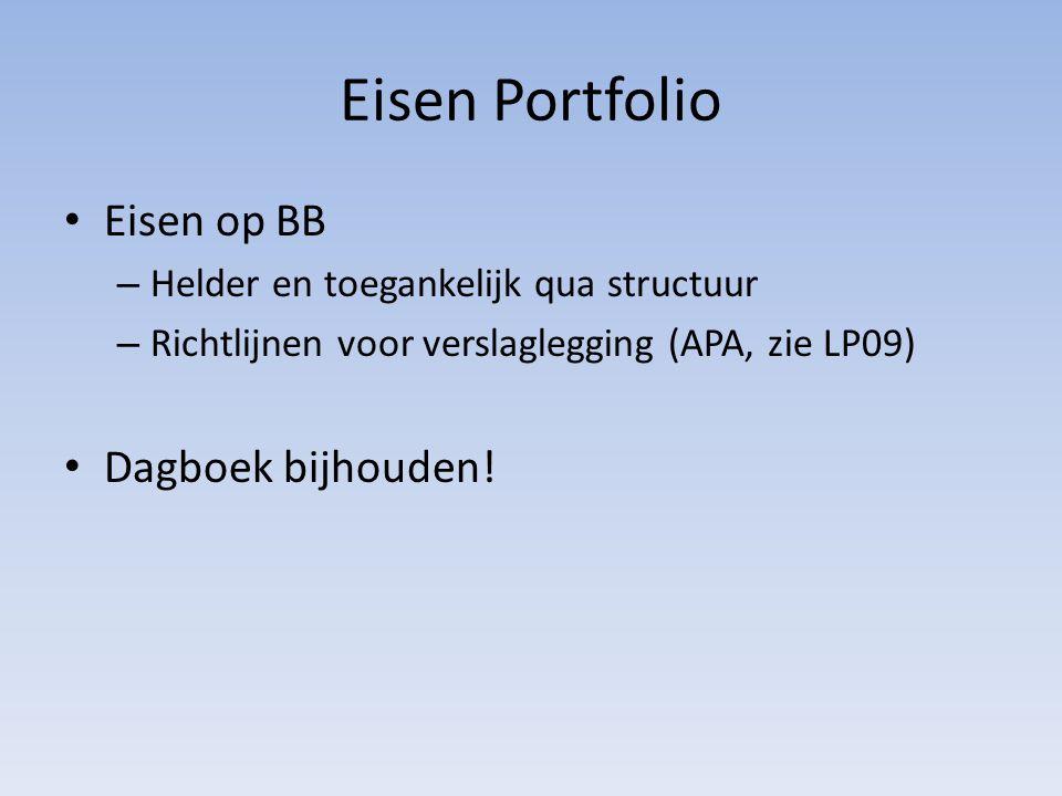 Eisen Portfolio Eisen op BB – Helder en toegankelijk qua structuur – Richtlijnen voor verslaglegging (APA, zie LP09) Dagboek bijhouden!