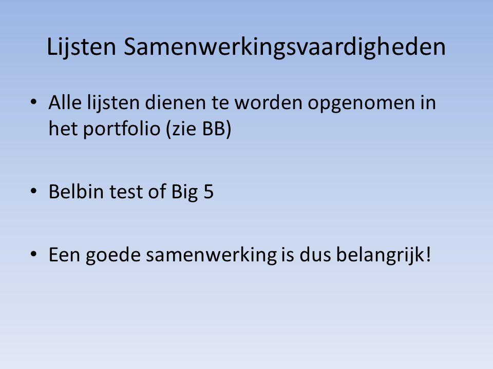 Lijsten Samenwerkingsvaardigheden Alle lijsten dienen te worden opgenomen in het portfolio (zie BB) Belbin test of Big 5 Een goede samenwerking is dus