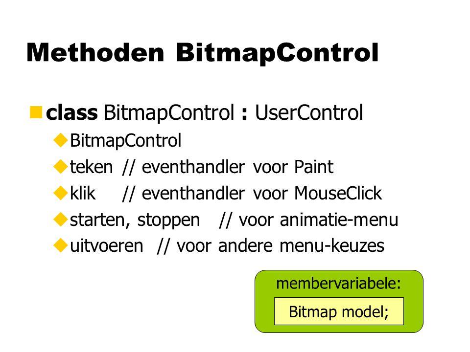 Methoden BitmapControl nclass BitmapControl : UserControl uBitmapControl uteken// eventhandler voor Paint uklik// eventhandler voor MouseClick ustarte