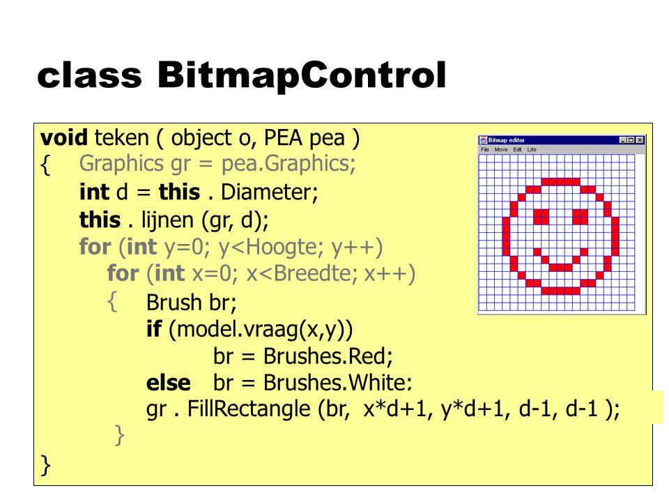 class BitmapControl void teken ( object o, PEA pea ) { gr. FillRectangle (br, x, y, 1, 1); } Brush br; if (model.vraag(x,y)) br = Brushes.Red; elsebr