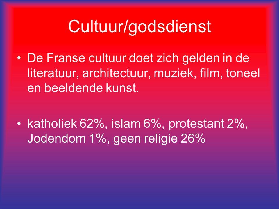 Cultuur/godsdienst De Franse cultuur doet zich gelden in de literatuur, architectuur, muziek, film, toneel en beeldende kunst. katholiek 62%, islam 6%