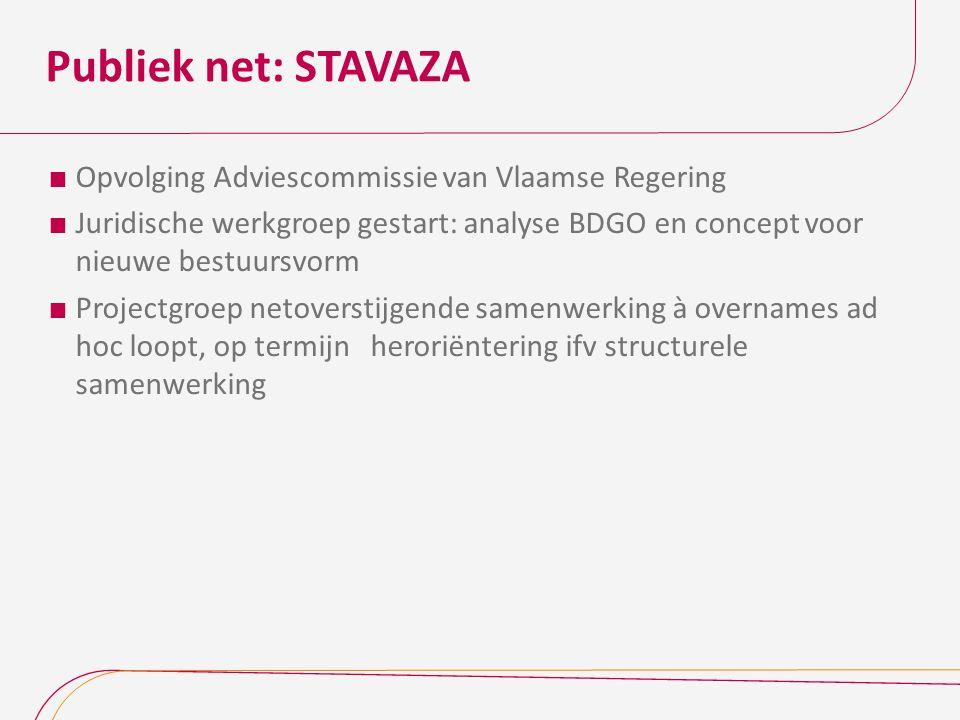 Publiek net: STAVAZA  Opvolging Adviescommissie van Vlaamse Regering  Juridische werkgroep gestart: analyse BDGO en concept voor nieuwe bestuursvorm  Projectgroep netoverstijgende samenwerking à overnames ad hoc loopt, op termijn heroriëntering ifv structurele samenwerking