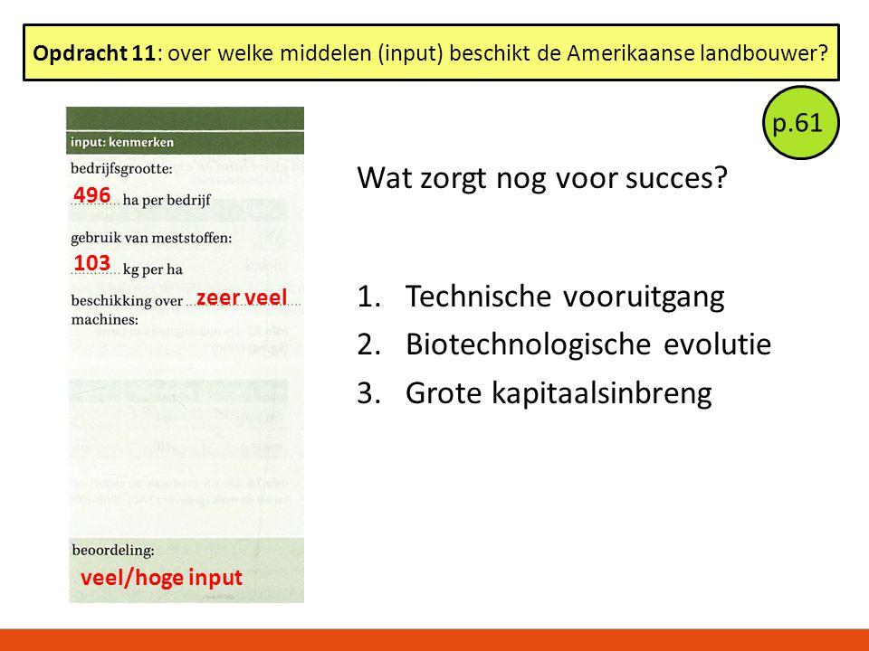 Wat zorgt nog voor succes? 1.Technische vooruitgang 2.Biotechnologische evolutie 3.Grote kapitaalsinbreng Opdracht 11: over welke middelen (input) bes