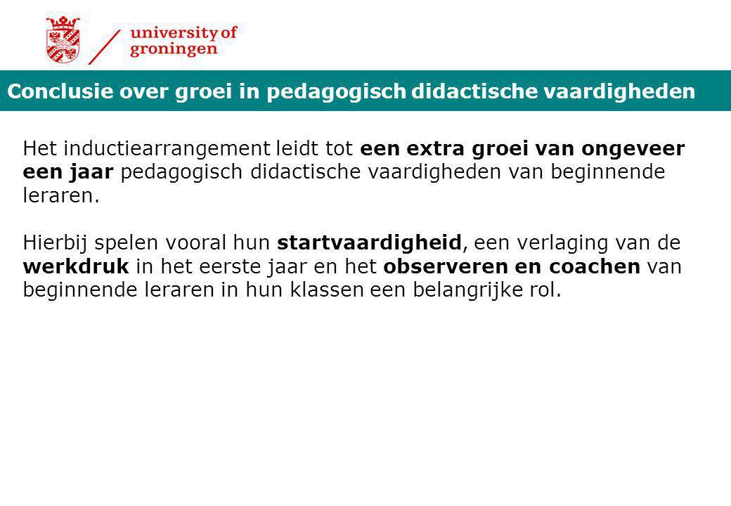 Conclusie over groei in pedagogisch didactische vaardigheden Het inductiearrangement leidt tot een extra groei van ongeveer een jaar pedagogisch didac