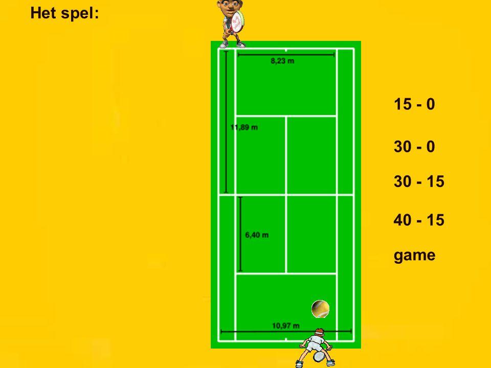 Het spel: 15 - 0 30 - 0 30 - 15 40 - 15 game