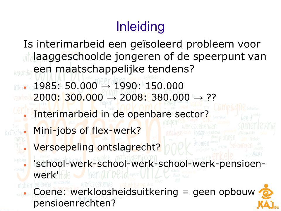 Inleiding Is interimarbeid een geïsoleerd probleem voor laaggeschoolde jongeren of de speerpunt van een maatschappelijke tendens? 1985: 50.000 → 1990: