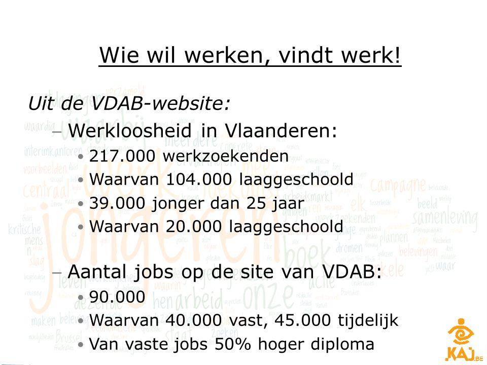 Uit de VDAB-website: – Werkloosheid in Vlaanderen: 217.000 werkzoekenden Waarvan 104.000 laaggeschoold 39.000 jonger dan 25 jaar Waarvan 20.000 laagge