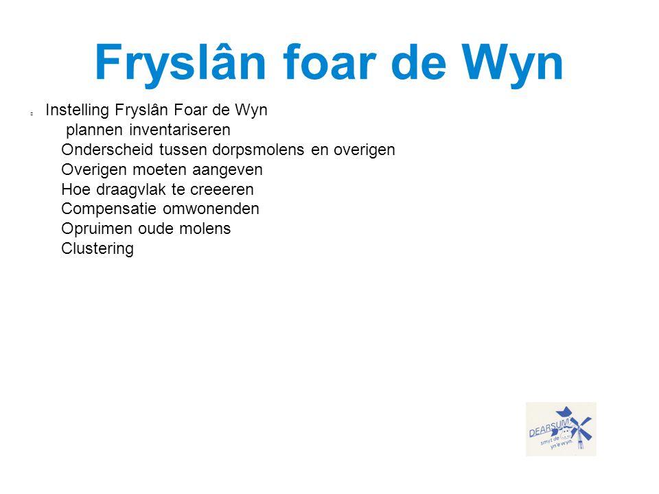 Instelling Fryslân Foar de Wyn  plannen inventariseren  Onderscheid tussen dorpsmolens en overigen  Overigen moeten aangeven  Hoe draagvlak te cre