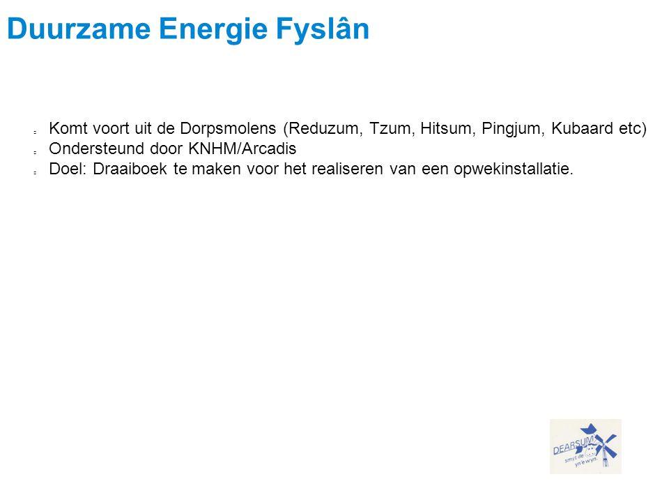 Gemeenschappelijke Duurzame Energie Fyslân Komt voort uit de Dorpsmolens (Reduzum, Tzum, Hitsum, Pingjum, Kubaard etc) Ondersteund door KNHM/Arcadis D