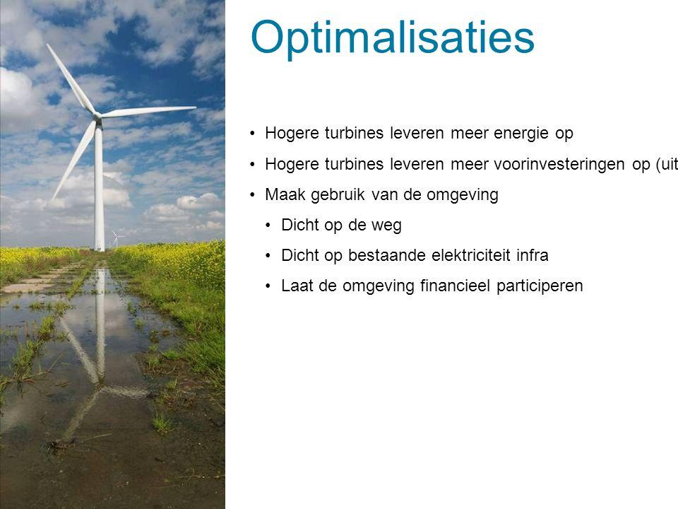 Optimalisaties Hogere turbines leveren meer energie op Hogere turbines leveren meer voorinvesteringen op (uitgebreide onderzoeken) Maak gebruik van de