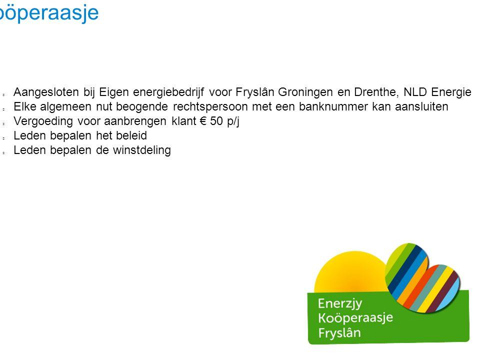 Ús Koöperaasje Aangesloten bij Eigen energiebedrijf voor Fryslân Groningen en Drenthe, NLD Energie Elke algemeen nut beogende rechtspersoon met een ba