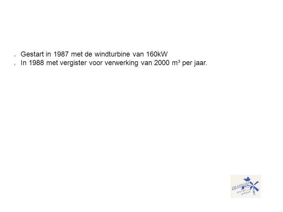 Gestart in 1987 met de windturbine van 160kW In 1988 met vergister voor verwerking van 2000 m³ per jaar.