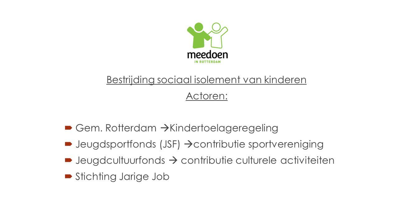 Bestrijding sociaal isolement van kinderen Actoren:  Gem. Rotterdam  Kindertoelageregeling  Jeugdsportfonds (JSF)  contributie sportvereniging  J