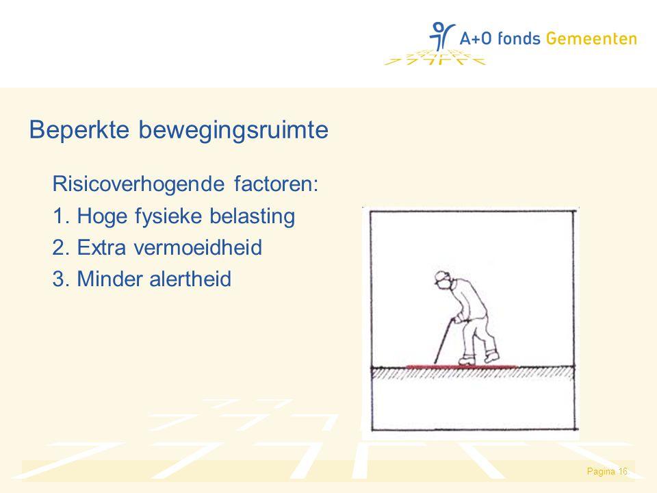 Pagina 16 Beperkte bewegingsruimte Risicoverhogende factoren: 1. Hoge fysieke belasting 2. Extra vermoeidheid 3. Minder alertheid