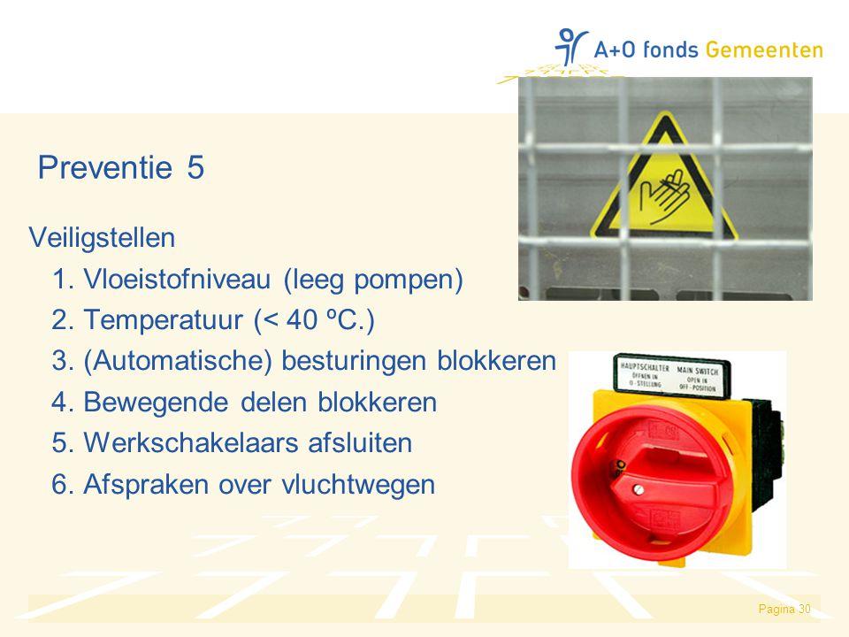 Pagina 30 Preventie 5 Veiligstellen 1. Vloeistofniveau (leeg pompen) 2. Temperatuur (< 40 ºC.) 3. (Automatische) besturingen blokkeren 4. Bewegende de