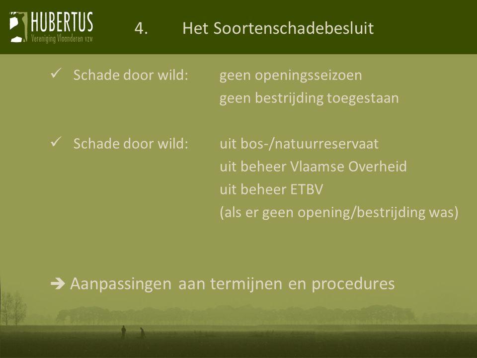 Schade door wild: geen openingsseizoen geen bestrijding toegestaan Schade door wild: uit bos-/natuurreservaat uit beheer Vlaamse Overheid uit beheer ETBV (als er geen opening/bestrijding was)  Aanpassingen aan termijnen en procedures