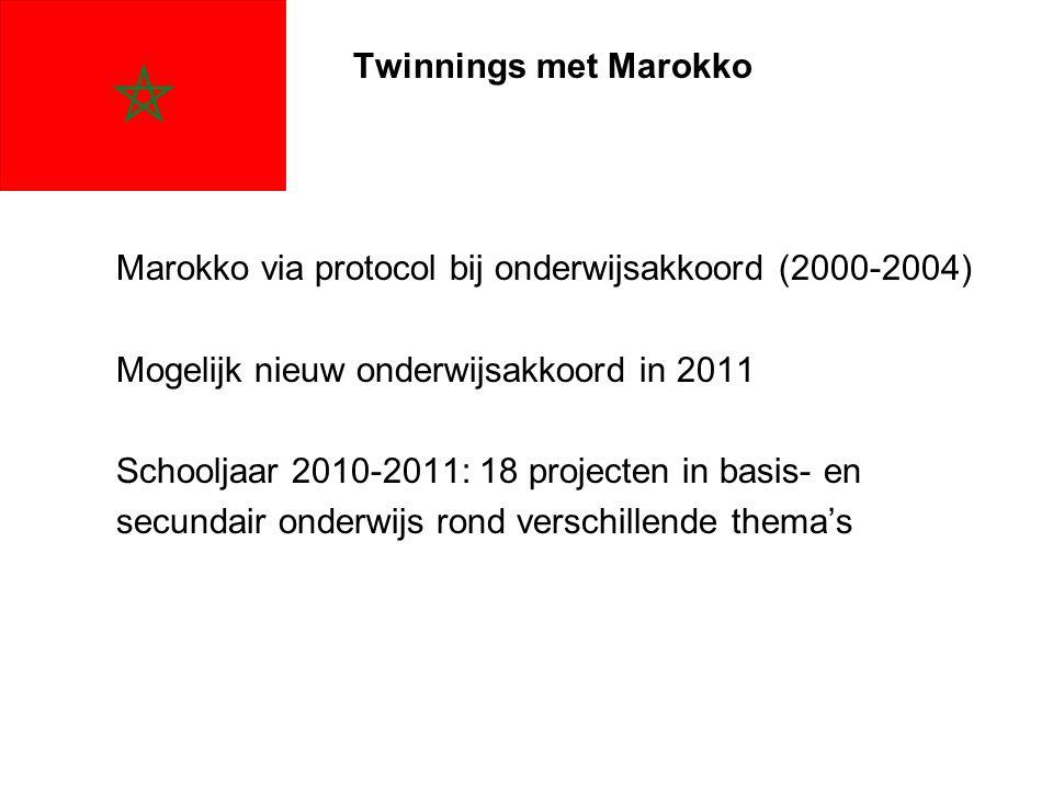 Twinnings met Marokko Marokko via protocol bij onderwijsakkoord (2000-2004) Mogelijk nieuw onderwijsakkoord in 2011 Schooljaar 2010-2011: 18 projecten in basis- en secundair onderwijs rond verschillende thema's