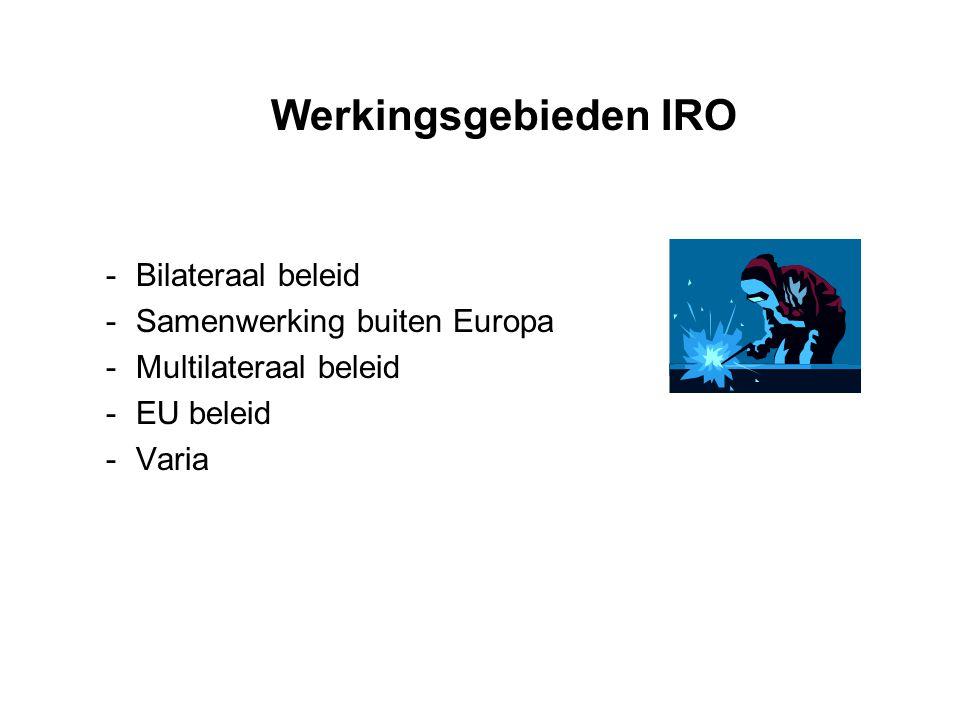 Werkingsgebieden IRO -Bilateraal beleid -Samenwerking buiten Europa -Multilateraal beleid -EU beleid -Varia