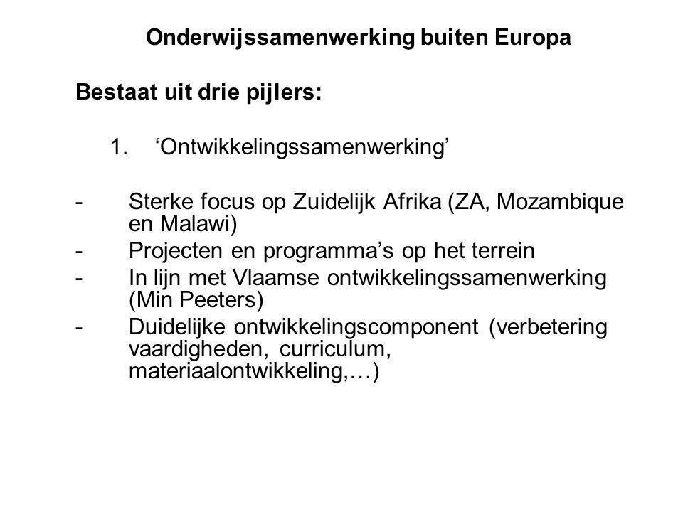 Onderwijssamenwerking buiten Europa Bestaat uit drie pijlers: 1.'Ontwikkelingssamenwerking' -Sterke focus op Zuidelijk Afrika (ZA, Mozambique en Malawi) -Projecten en programma's op het terrein -In lijn met Vlaamse ontwikkelingssamenwerking (Min Peeters) -Duidelijke ontwikkelingscomponent (verbetering vaardigheden, curriculum, materiaalontwikkeling,…)