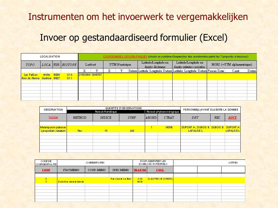 Invoer op gestandaardiseerd formulier (Excel) Instrumenten om het invoerwerk te vergemakkelijken