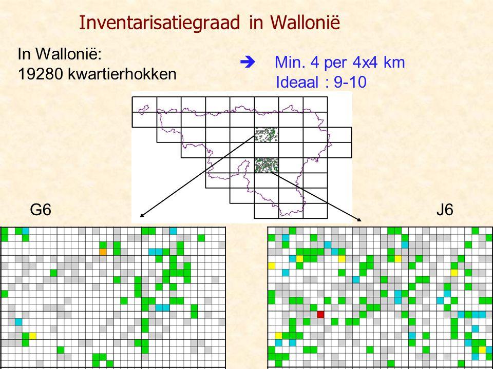 Inventarisatiegraad in Wallonië  Min. 4 per 4x4 km Ideaal : 9-10 In Wallonië: 19280 kwartierhokken J6G6