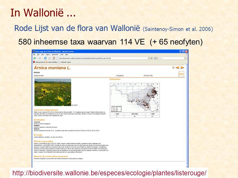 In Wallonië... Rode Lijst van de flora van Wallonië (Saintenoy-Simon et al. 2006) 580 inheemse taxa waarvan 114 VE (+ 65 neofyten) http://biodiversite