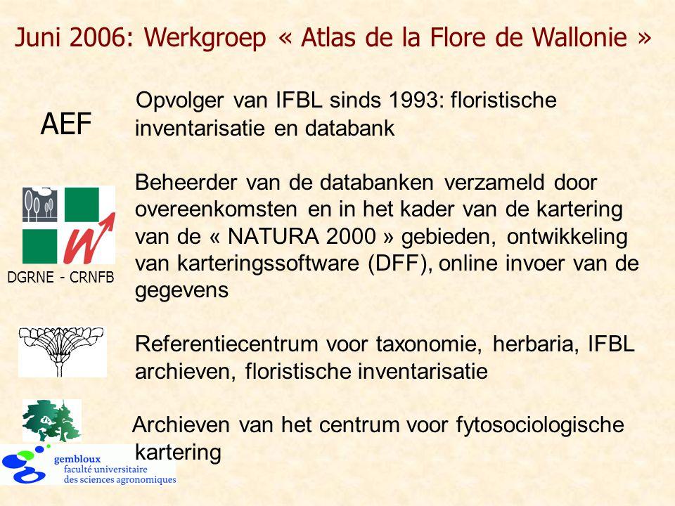Opvolger van IFBL sinds 1993: floristische inventarisatie en databank Beheerder van de databanken verzameld door overeenkomsten en in het kader van de