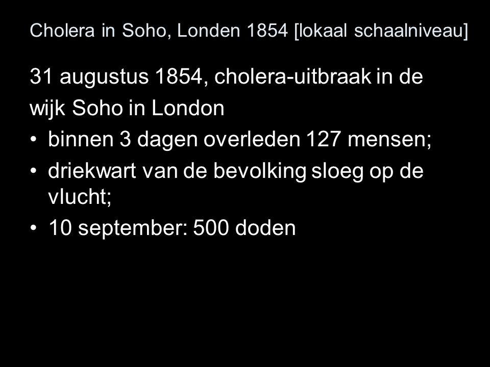 Cholera in Soho, Londen 1854 [lokaal schaalniveau] 31 augustus 1854, cholera-uitbraak in de wijk Soho in London binnen 3 dagen overleden 127 mensen; d