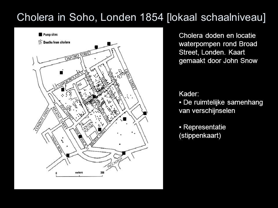 Cholera in Soho, Londen 1854 [lokaal schaalniveau] Cholera doden en locatie waterpompen rond Broad Street, Londen. Kaart gemaakt door John Snow Kader: