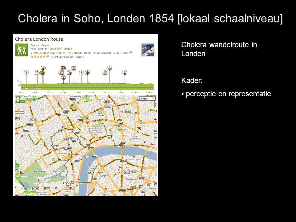 Cholera in Soho, Londen 1854 [lokaal schaalniveau] Cholera wandelroute in Londen Kader: perceptie en representatie
