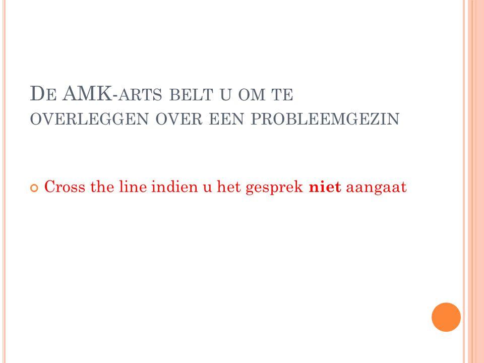 D E AMK- ARTS BELT U OM TE OVERLEGGEN OVER EEN PROBLEEMGEZIN Cross the line indien u het gesprek niet aangaat