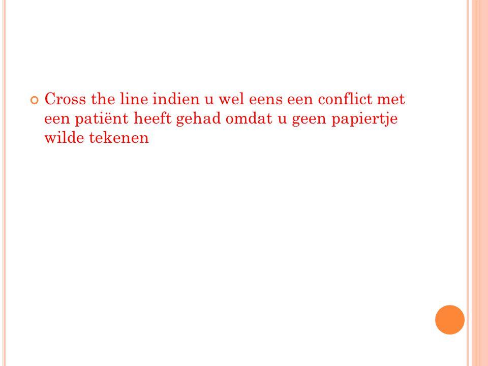 Cross the line indien u wel eens een conflict met een patiënt heeft gehad omdat u geen papiertje wilde tekenen