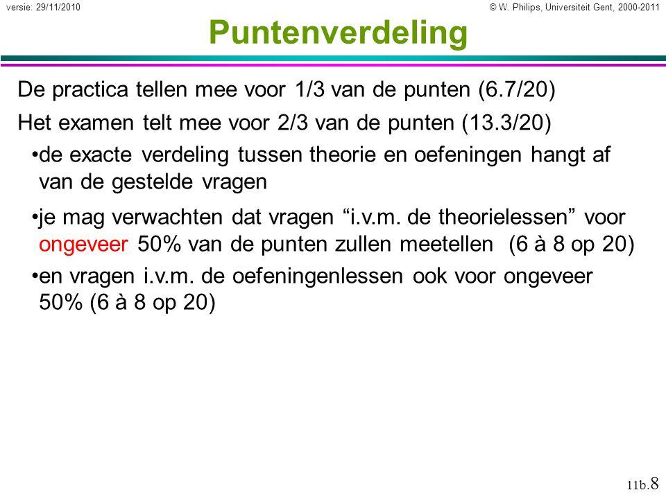 © W. Philips, Universiteit Gent, 2000-2011versie: 29/11/2010 11b.