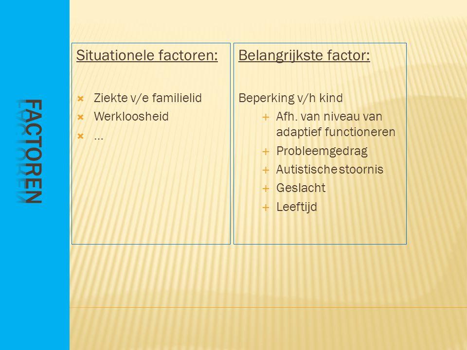 Situationele factoren:  Ziekte v/e familielid  Werkloosheid …… Belangrijkste factor: Beperking v/h kind  Afh.