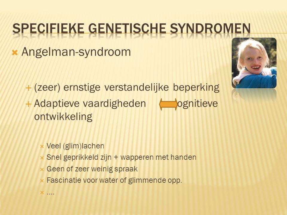  Angelman-syndroom  (zeer) ernstige verstandelijke beperking  Adaptieve vaardigheden cognitieve ontwikkeling  Veel (glim)lachen  Snel geprikkeld zijn + wapperen met handen  Geen of zeer weinig spraak  Fascinatie voor water of glimmende opp.