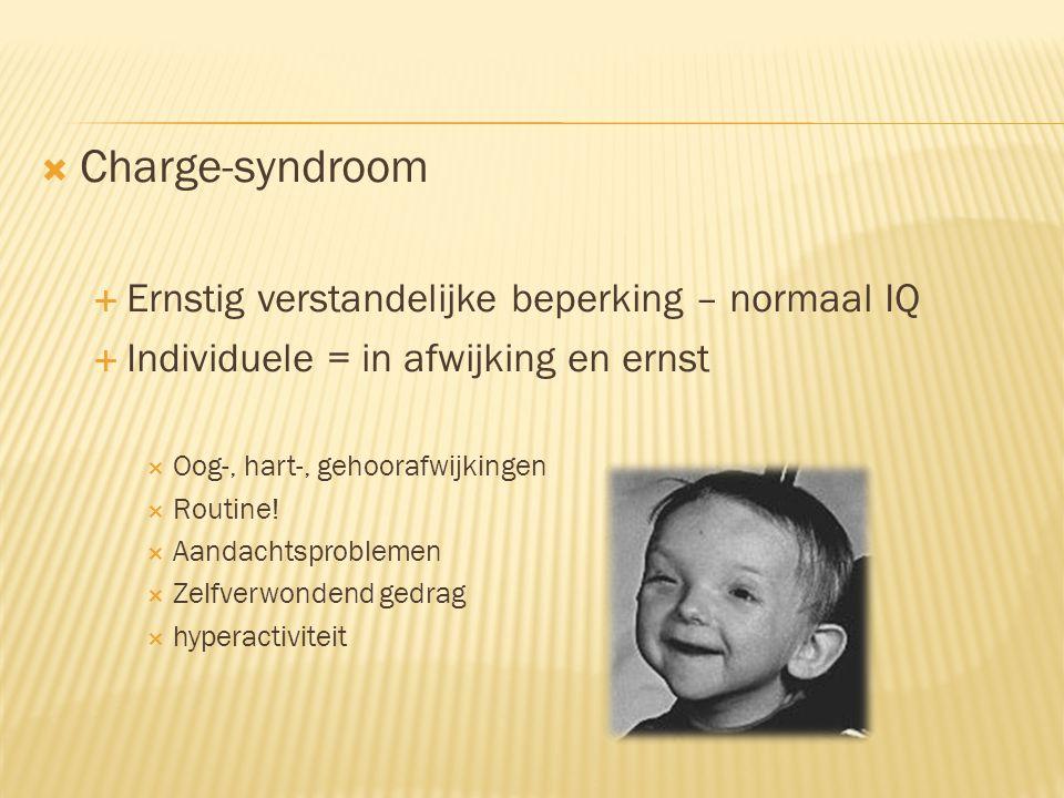  Angelman-syndroom  (zeer) ernstige verstandelijke beperking  Adaptieve vaardigheden cognitieve ontwikkeling  Veel (glim)lachen  Snel geprikkeld