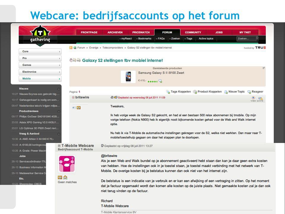 Webcare: bedrijfsaccounts op het forum 13