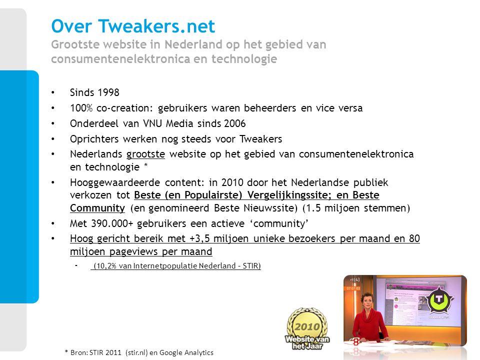 Sinds 1998 100% co-creation: gebruikers waren beheerders en vice versa Onderdeel van VNU Media sinds 2006 Oprichters werken nog steeds voor Tweakers N