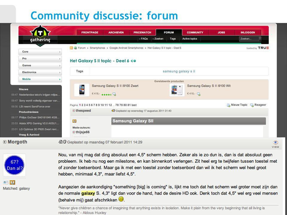 7 Community discussie: forum